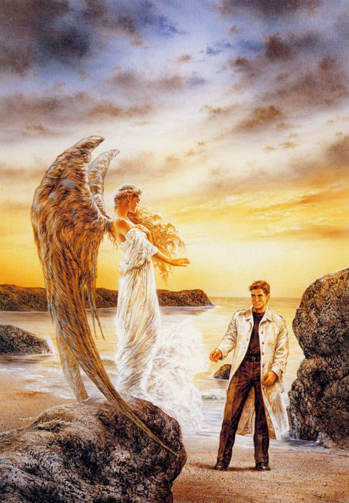 Archangel Ariel On Beach With Man.