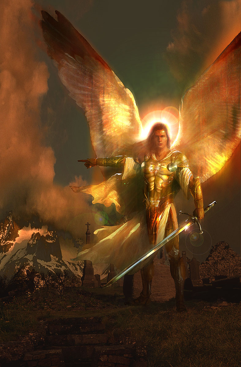 Archangel michael with sword of light.